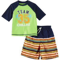 Flapdoodles Little Boys 2-pc. Chillax Rashguard Set