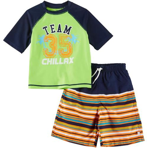 Nickelodeon Paw Patrol Rash Guard And Swim Trunks Shorts Set 2 pc Boy NEW 6,7