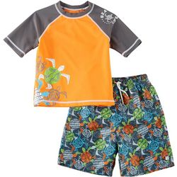Flapdoodles Little Boys 2-pc. Turtles Rashguard Set