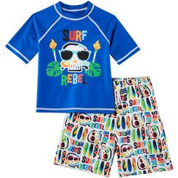 Flapdoodles Toddler Boys 2-pc. Surf Rebel Rashguard Set