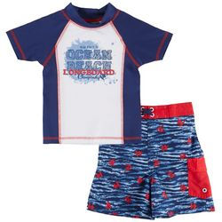 Mick Mack Little Boys Ride The Tide Rashguard Swim Set