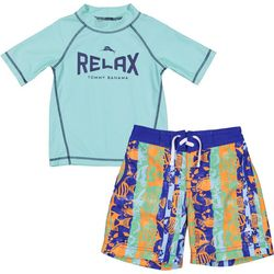 e1152192a7 Tommy Bahama Little Boys 2-pc. Relax Rashguard Swim Set