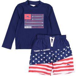 Tommy Bahama Little Boys 2-pc. Americana Rashguard Swim Set