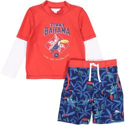 Tommy Bahama Little Boys 2-pc. Palm Tree Rashguard Swim Set