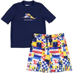 Tommy Bahama Little Boys 2-pc. Nautical Flag Swim Set