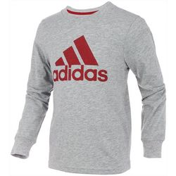 Adidas Little Boys Long Sleeve Heathered Logo T-Shirt