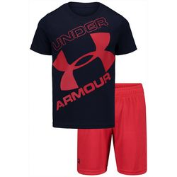Under Armour Little Boys 2-pc. Tilted Big Logo Shorts Set