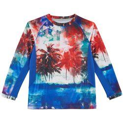 Reel Legends Big Boys Keep It Cool Beach Stripe Crew T-Shirt
