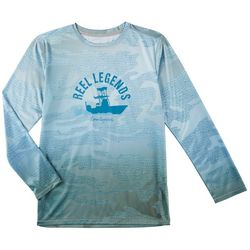 Reel Legends Little Boys Reel-Tec Camo Fishing Boat T-Shirt