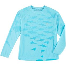 Reel Legends Little Boys Water Reactive Shark Rashguard