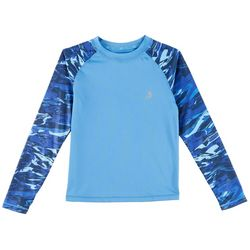 Reel Legends Big Boys Aqua Camo Rashguard