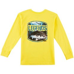 Reel Legends Big Boys Logo Back Long Sleeve T-Shirt