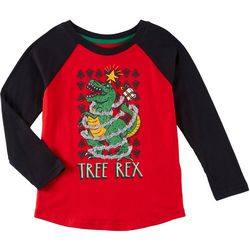 Seven Oaks Little Boys Tree Rex Long Sleeve T-Shirt