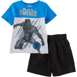 Marvel Black Panther Little Boys Logo Shorts Set