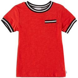 Flapdoodles Toddler Boys Chest Pocket Striped Trim T-Shirt