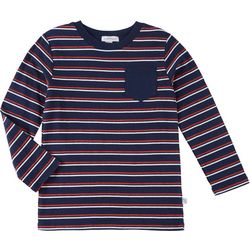 Flapdoodles Little Boys Striped Long Sleeve Pocket T-Shirt
