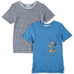 Flapdoodles Little Boys 2-pk. Sports & Stripe T-Shirts