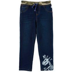 Flapdoodles Little Boys Knit Camo Waist Denim Pants