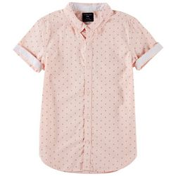 Cactus Boys Little Boys Diamond Print Button Down Polo Shirt