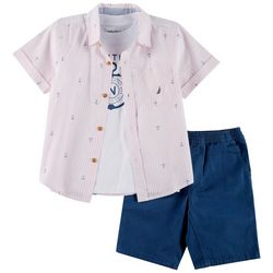 Nautica Little Boys 3-pc. Anchor Print Shirt & Shorts Set