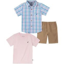 Nautica Little Boys 3-pc. Plaid Shirt & Shorts Set