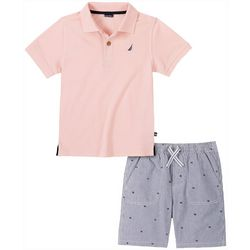 Nautica Little Boys Solid Polo & Striped Short Set