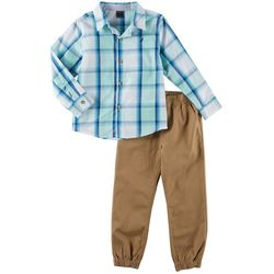 Nautica Little Boys Plaid Button Down Jogger Pants Set