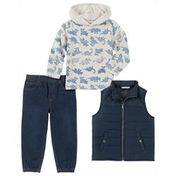 Kids Headquarters Little Boys 3-pc. Dino Hoddie & Vest Set