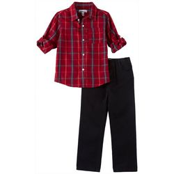Kids Headquarters Little Boys Red Plaid Button Down Set