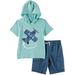 Kids Headquarters Little Boys 2-pc. Plane Hoodie Set