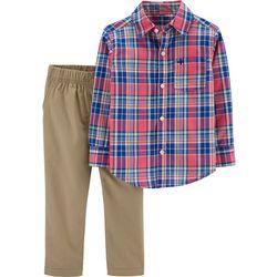 Carters Toddler Boys Plaid Button Up Pants Set