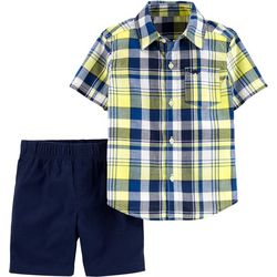 Carters Toddler Boys Madras Plaid Button Down Shorts Set
