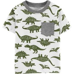 Carters Toddler Boys Dinosaur Print Chest Pocket T-Shirt