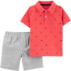 Carters Toddler Boys Printed Polo Stripe Shorts Set