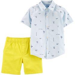 Carters Toddler Boys Mix Stripe Button Down Shorts Set