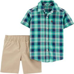 Carters Toddler Boys Plaid Button Down Shorts Set