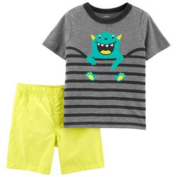 Carters Toddler Boys Stripe Monster Shorts Set