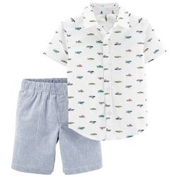 Carters Toddler Boys Boat Button Down Stripe Shorts Set