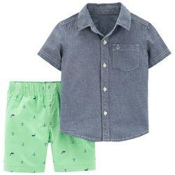 Carters Toddler Boys Nautical Button Down Shorts Set