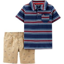 Carters Toddler Boys Striped Polo Car Shorts Set
