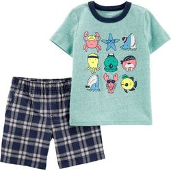 Carters Toddler Boys Sea Creature Plaid Shorts Set