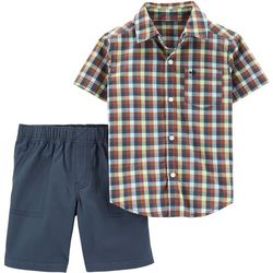 Carters Toddler Boys Check Plaid Button Down Shorts Set
