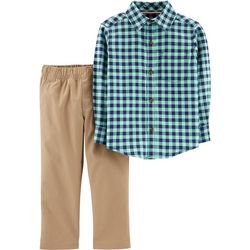 Carters Toddler Boys Gingham Flannel Pants  Set