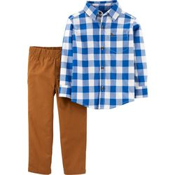 Carters Toddler Boys Plaid Collar Button Up Pants Set