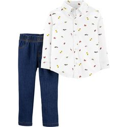 Carters Toddler Boys Icon Print Button Down Pants Set
