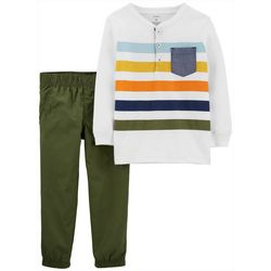 Carters Toddler Boys Striped Henley Pants Set