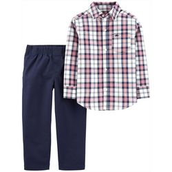 Carters Toddler Boys Plaid Button Down Long Sleeve Pants Set