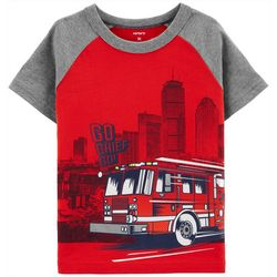 Carters Toddler Boys Firetruck Raglan T-Shirt
