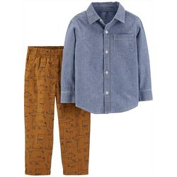 Carters Toddler Boys Chambray Button Up Dog Print Pants Set