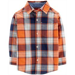 Carters Toddler Boys Plaid Button-Down Long Sleeve T-Shirt